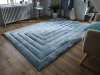SALE Verge Ridge Duck Egg Blue Carved Thick 3D Shaggy Rug in various sizes