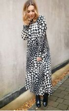 Bnwt H&M Trend Dress Stand Up Collar Dogtooth Midi Maxi Large Bloggers Floaty