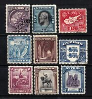 Cyprus stamps #114 - 122, mint/used, no 123, 1928, SCV $152.60, (SG $208)