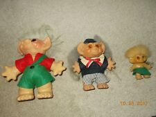 Three vintage Troll Dolls with Original clothes
