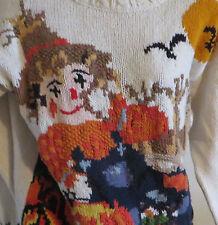 Crystal Kobe Womens Large Ugly Halloween Sweater Scarecrow Pumpkin