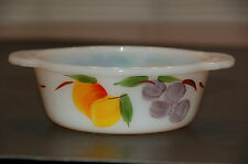 """1950's Vintage Fire-King """"Gay Fad Studios"""" Hand Painted Fruits Pint Baking Dish"""
