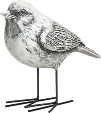 Sketchbook Bird Figurine Black Gray White Large Resin