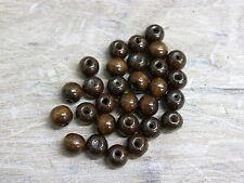 * 500 * marrón oscuro de madera de 10 mm ronda Craft Beads w174
