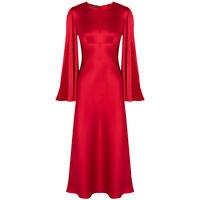 Alexander McQueen Lantern Red Silk Satin Open-Sleeve Kimono Dress Gown IT40 UK8