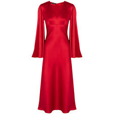 Alexander McQueen Satin Silk Open-Sleeve Kimono Lantern Red Dress Gown UK10 IT42
