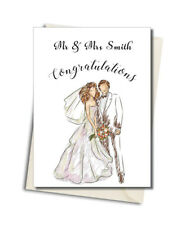 Personalised Bride and Groom Wedding Day Names Any Wording Card
