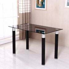Full Black Dining Table 8mm Tempered Glass Surface PVC Tube Dining Legs Kitchen
