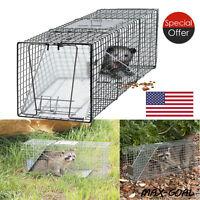 Humane Animal Trap 32x12x12 Steel Cage Live Rodent Control Skunk Rabbit Opossum@