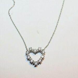 Tiffany & Co. Platinum Diamond Heart Pendant 16'' Necklace