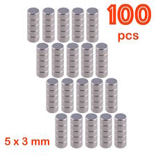 100 PCS Bulk Small Round 5mm x 3mm Disc Magnets Super Powerful NdFeB Magnet N50