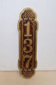 Personalized Wood Sign, Vertical, V-CARVED, House Number,Engraved.Gift.