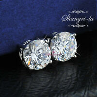 9K White GOLD GF Womens 7MM SILVER STUD EARRINGS 3.0CT SWAROVSKI DIAMOND ES109