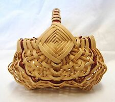 Handmade Buttocks Egg Basket Melon Maroon Dark Red Piping Decorative Collectible