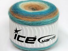Lot of 2 x 150gr Skeins ICE CAKES MOHAIR (20% Mohair 20% Wool) Yarn Turquoise...