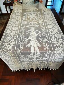 Tenda di lino anni 50 colore beige 215 x 103 cm. ricamata filet a mano