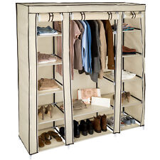 Triple fabric canvas cupboard wardrobe shelf storage with clothes rail camping b