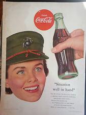 1953 Coca Cola Woman Military Hat Cap Bottle Original Print Ad