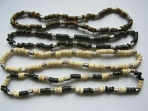 Wood bead & silver coloured studded bead stretch surf necklace - choose colour
