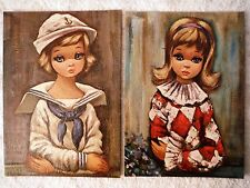 Lot of 2 Big Eyed Girls Pierette & Sailor Girl by Eden - Canvas Style Lithograph