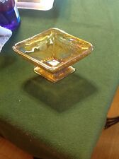 Vintage amber/ gold Glass Diamond Shaped Footed Candy Dish Trinket Bowl