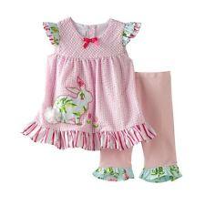 Bonnie Jean Rabbit Seersucker Top & Ruffled Pants Set Baby Girl 24 Months