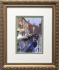 "Guido Borelli ""Le Barche Sul Canale"" CUSTOM FRAMED Hand Signed Lithograph ITALY"