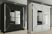 Sliding Modern Bedroom Double Door Wardrobe - 2 Colours - 4 Sizes with Led Light