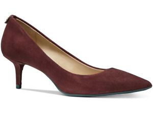 NIB Size 9.5 Michael Kors MK Flex Kitten Pump Brandy Burgundy Red