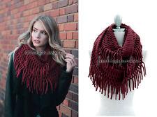 BURGUNDY DARK RED FRINGE INFINITY Scarf Circle Crochet Knit Long Warm Eternity