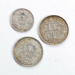 SVIZZERA Lotto 2 monete in argento da 1/2 Franc 1944 e 1 Franc 1939 1943 Ottime