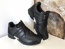 $950 CHANEL CC LOGO BLACK LEATHER TRAINERS TENNIS SNEAKERS SHOES SIZE 39 NIB