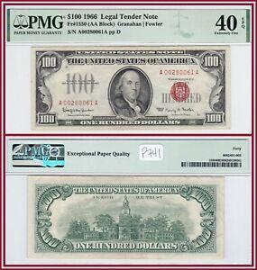 1966 Legal Tender $100 United States Note PMG 40 EPQ XF Hundred Dollars USN
