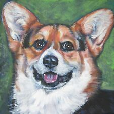 Pembroke Welsh Corgi dog portrait Canvas PRINT of lashepard painting LSHEP 8x8""