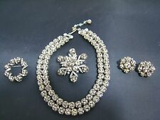 OUTSTANDING FOUR PIECE WEISS AUSTRIAN RONDELLE DIAMANTE TWO STRAND NECKLACE + 3