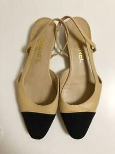 Auth CHANEL Slingback Bicolor Leather Flat Sandals Beige/Black Size37.5 Used F/S