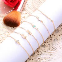 6Pcs Styles Women's Fashion Crystal Gold Cuff Bracelet Bangle Chain Jewelry Sets