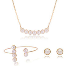 Gorgeous Gold Plated Stud Earrings Bracelet Necklace White Pearl Jewelry Sets