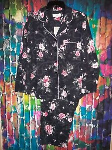 NWT Karen Neuburger Size M Black/Pink Floral Print  Pajama/Lounge Set L-9