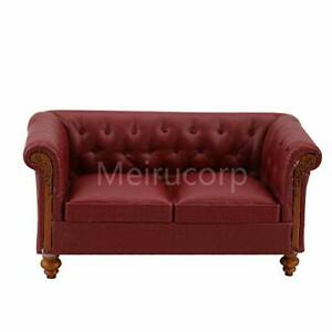 Dollhouse 1/12 Scale Miniature Furniture red Faux Leather Living Room Sofa