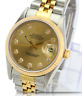 Rolex Mens Datejust 16013 Two-tone Champagne Diamond Dial 18K Fluted Bezel  36mm