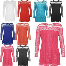 Womens Floral Lace Lined Sheer Top Ladies Round Neck Long Sleeve Fancy Tunic Top