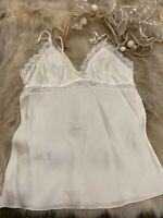 Nice white sequins SILK Camisole Top sleepwear nightwear size S