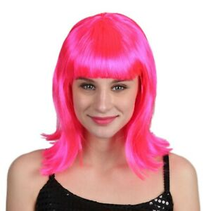 Women's Long Straight Pink Flip Wig with Bangs Halloween Costume Accessory #7700