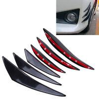 Willkey 6x Carbon Fiber Car Front Bumper Lip Splitter Fins Body Spoiler Canards