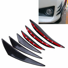 Willkey 6x Carbon Fiber Car Front Bumper Lip Splitter Fins Body Spoiler Canards