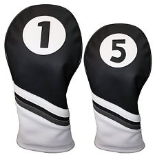 Majek Golf Headcover Black & White Leather Style 1 & 5 Driver & Wood Head Cover
