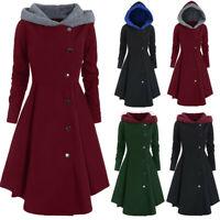 Women Plus Size Coat Fleece Hooded Single Breasted Long Buttons Outcoat Outwear