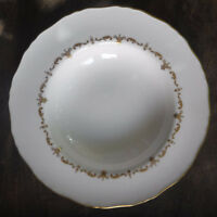 "Royal Worcester Gold Chantilly porcelain 9 1/8"" WIDE RIM SOUP BOWL  PRISTINE!!"