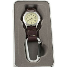Dakota Leather Hanger Watch Watch Khaki Face Water Resistant Carabiner 3550